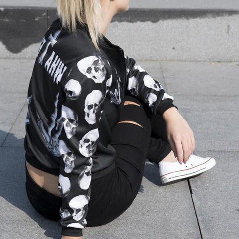 Image of Ainsley Skull Bomber Jacket
