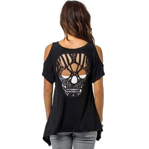 Image of Callie Cold Shoulder Skull T Shirt