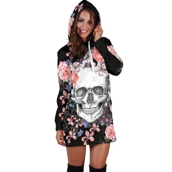 Riley Womens Hooded Skull Dress