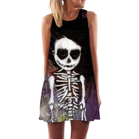 Image of Piper A Line Swing Skull Dress