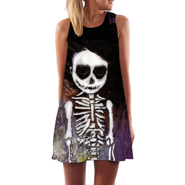 Piper A Line Swing Skull Dress