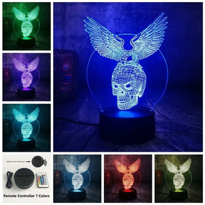 Azrael Skull Eagle Wings 3D LED Night Light