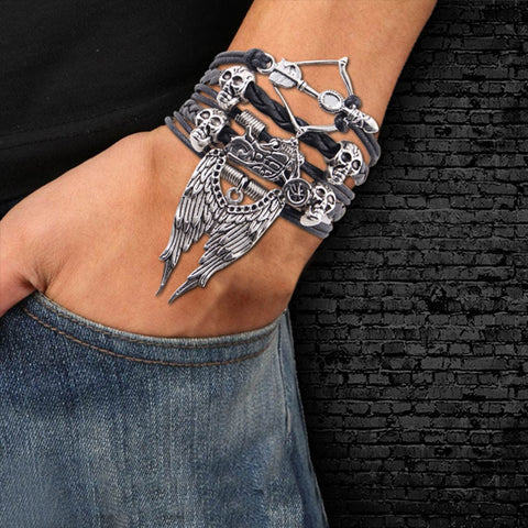 Image of Hero Punk Skull Leather Bracelet