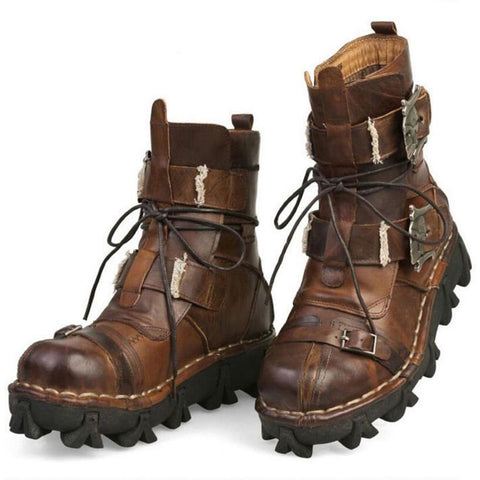 Image of American Legend Handmade Leather Skull Biker Boots + Free Leg Bag