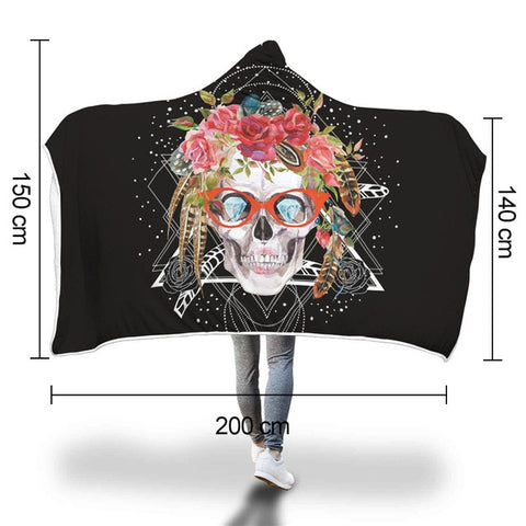 Image of Hedley Hooded Skull Throw Blanket