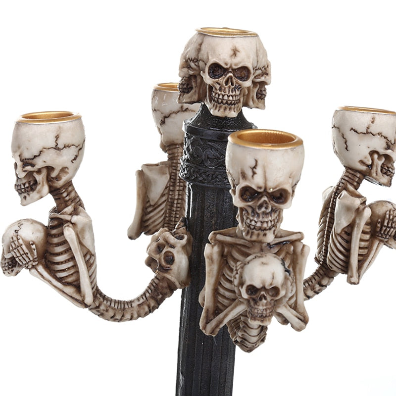 Damien Resin Skull Candle Stick