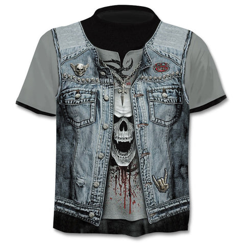 Image of Azrael Denim Vest Skull Print T Shirt