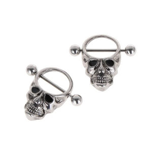 Edana 2Pcs Stainless Skull Nipple Bars