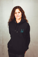 Load image into Gallery viewer, Black hoodie unisex sweatshirt with blue butt design - women