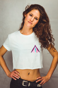 white Crop Top for women with embroidered clitoris design