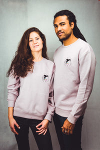unisex lilac sweatshirt with embroidered paradise design