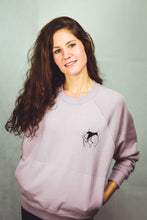 Load image into Gallery viewer, lilac sweatshirt for women with embroidered paradise design