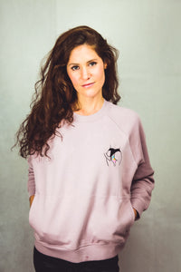 lilac sweatshirt for women with embroidered paradise design