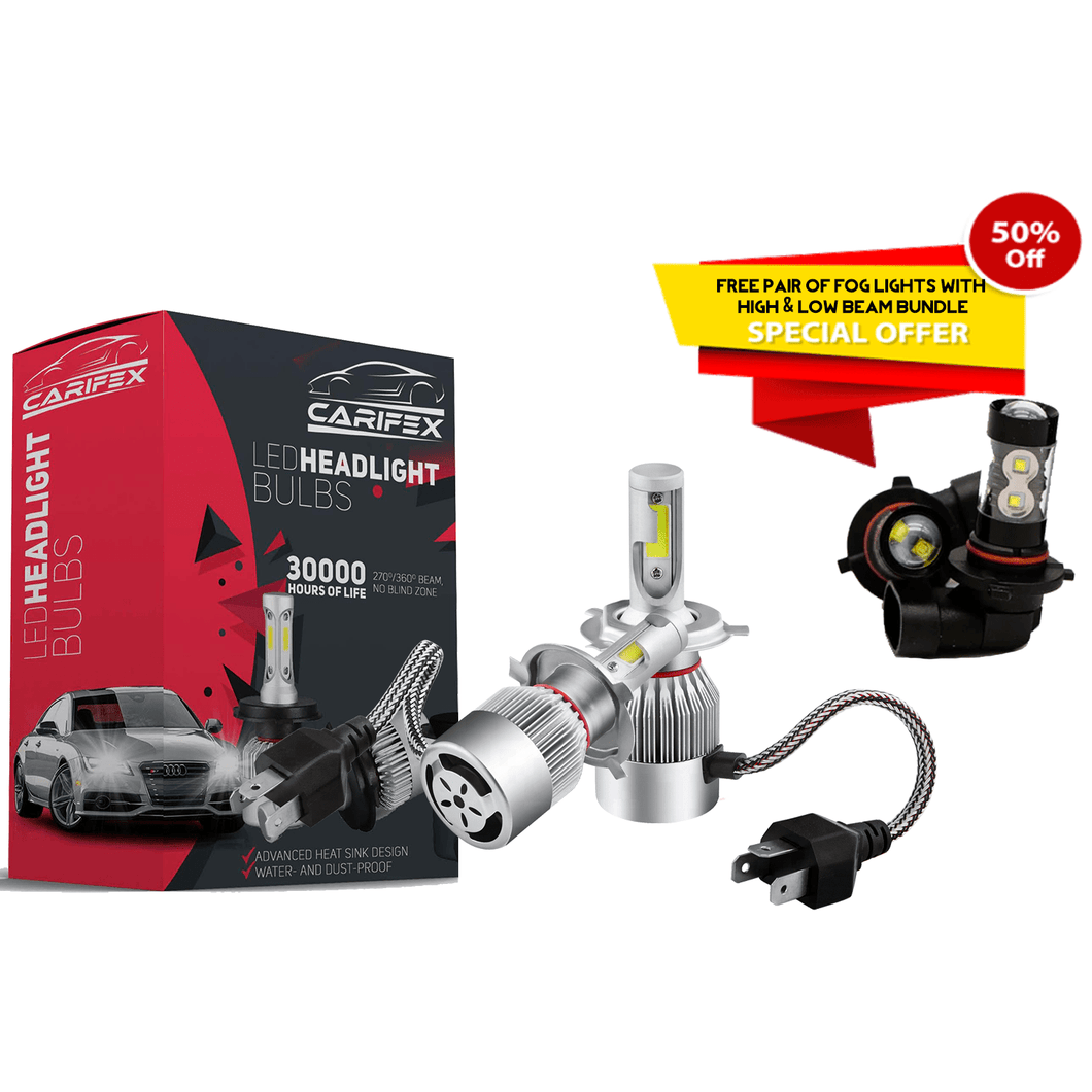Carifex headlights bulb HIGH AND LOW BEAM ( FREE FOG LIGHT + 50% OFF - SAVE $79.90 ) CARIFEX® Boxing Day Special - Premium LED Headlight Bulb Sets