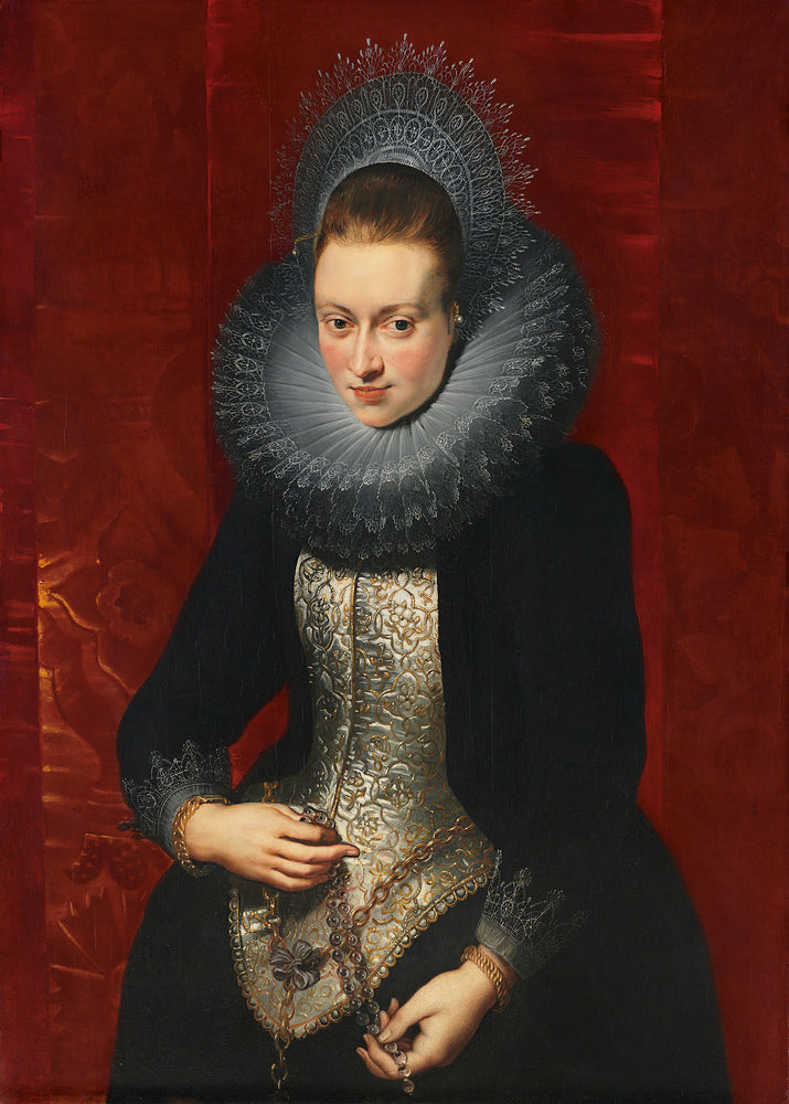 Portrait of a Young Woman with a Rosary by Peter Paul Rubens Reproduction Oil Painting on Canvas