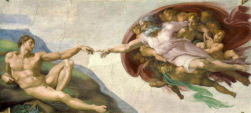 The Creation of Adam by Michelangelo I Blue Surf Art