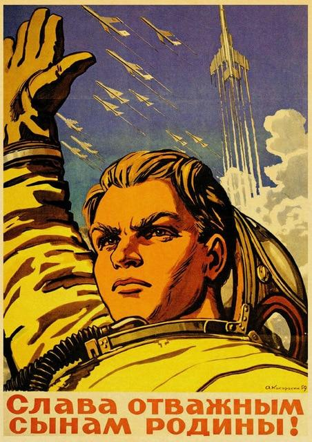 Vintage Russian Propaganda Man Put the Hand Up Poster Art