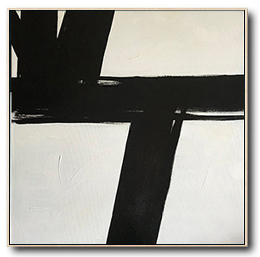 Large Abstract Black & White Square Size Canvas Art by Blue Surf Art Wall Art, Home Decor, Reproduction