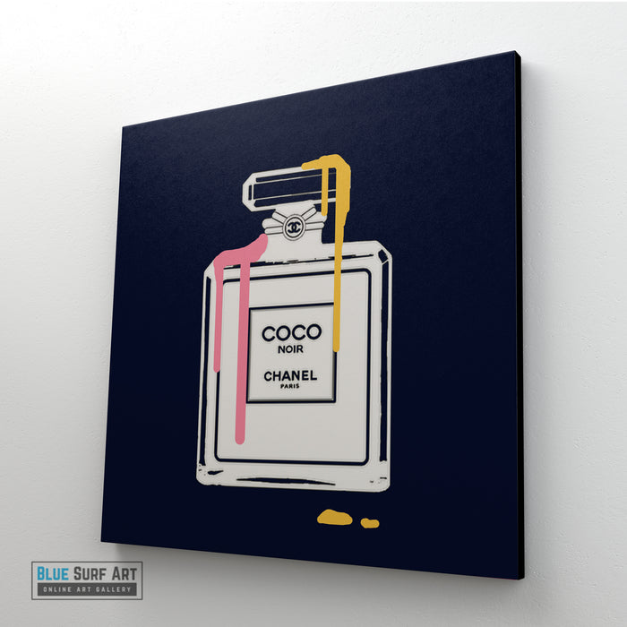 Dark Blue Perfume Fashion Canvas Art, Coco Chanel Wall Art, Home Decor - left side