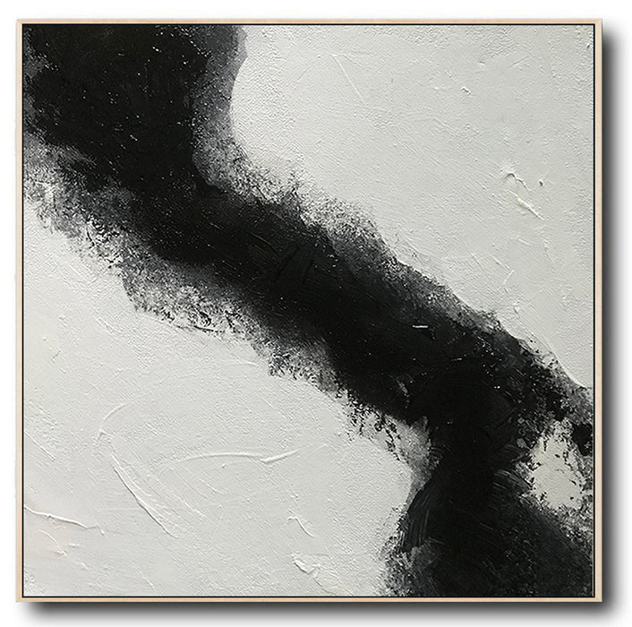 Large Abstract Black & White Square Size, Textured Abstract Art, Minimalist Art Canvas Art by Blue Surf Art Wall Art, Home Decor, Reproduction