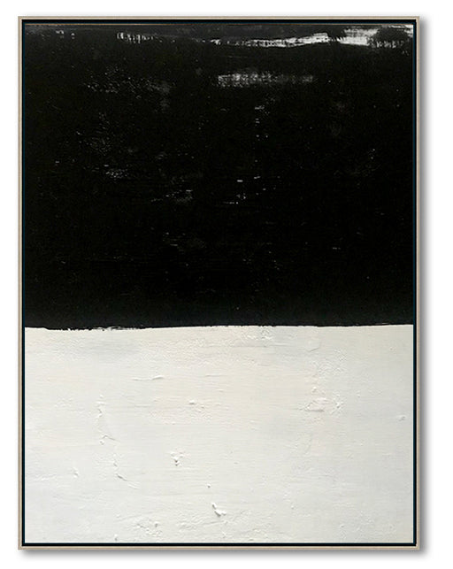 Large Abstract Painting Oversized Canvas Art, Black & White Minimal Art