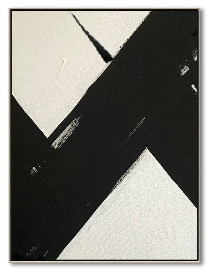HUGE Abstract Painting Oversized Canvas Art, Black and White Minimal Painting On Canvas, Acrylic and Oil Painting
