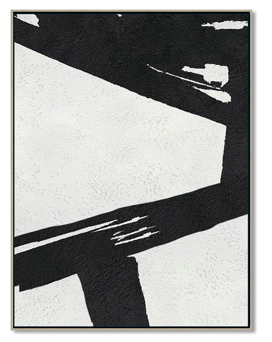 Extra Large Abstract Painting, Black and White Minimal Canvas Art Painting