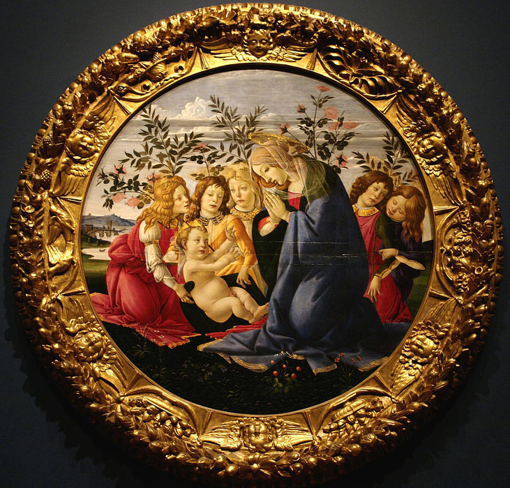 Madonna Adoring the Child with Five Angels by Sandro Botticelli I Blue Surf Art