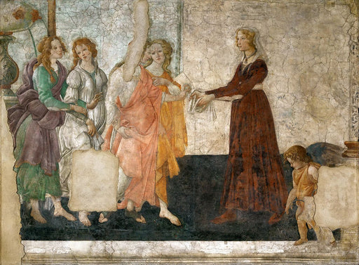 Venus and the Three Graces Presenting Gifts to a Young Woman by Sandro Botticelli I Blue Surf Art