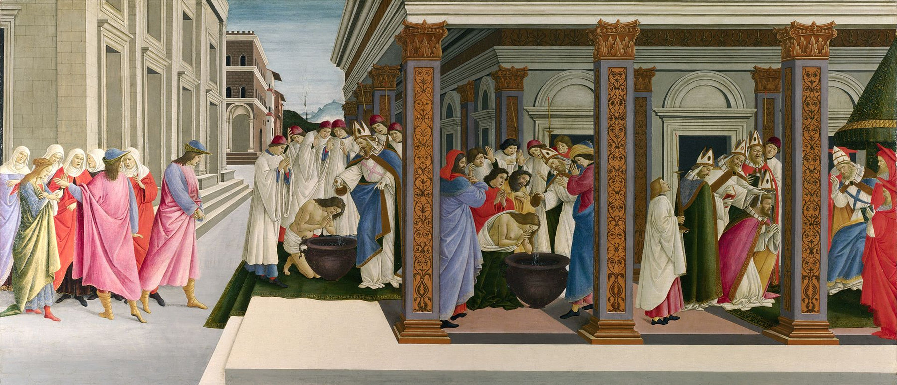 Baptism of St. Zenobius and His Appointment as a Bishop by Sandro Botticelli I Blue Surf Art