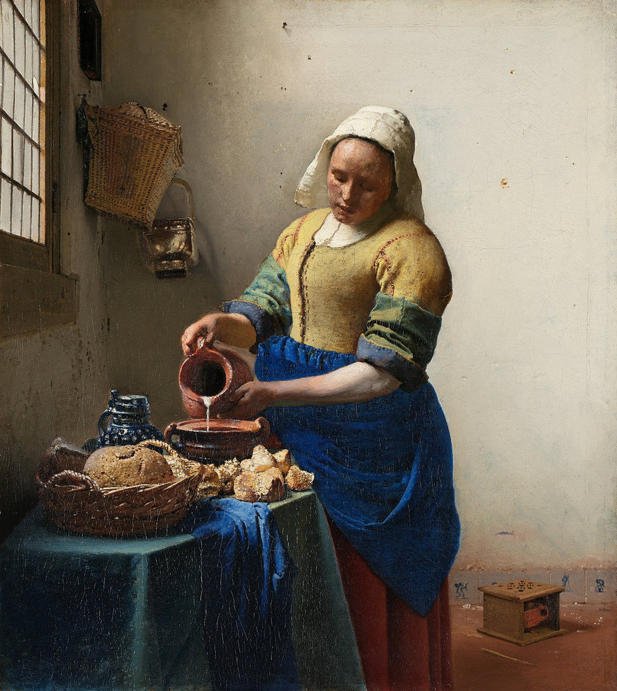 The Milkmaid by Johannes Vermeer Reproduction Painting by Blue Surf Art