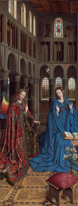 Annunciation by Jan Van Eyck Reproduction Painting by Blue Surf Art