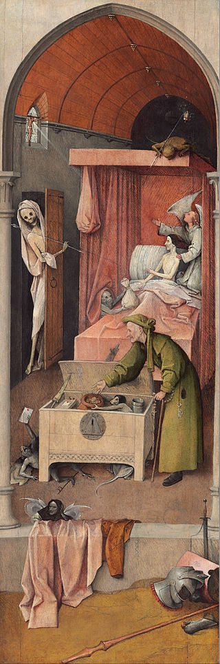 Death and the Miser by Hieronymus Bosch I Blue Surf Art