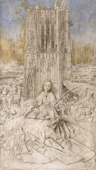 Saint Barbara by Jan Van Eyck Reproduction Painting by Blue Surf Art
