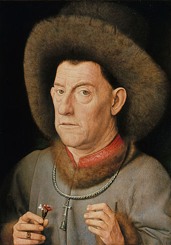 Portrait of a Man with Carnation by Jan Van Eyck Reproduction Painting by Blue Surf Art