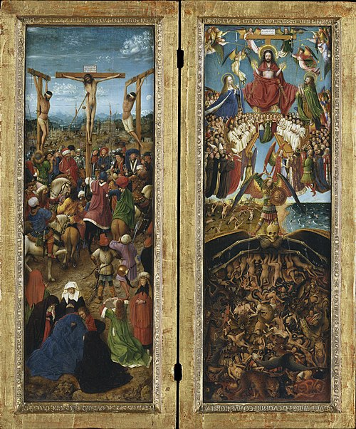 Crucifixion and Last Judgement diptych by Jan Van Eyck Reproduction Painting by Blue Surf Art