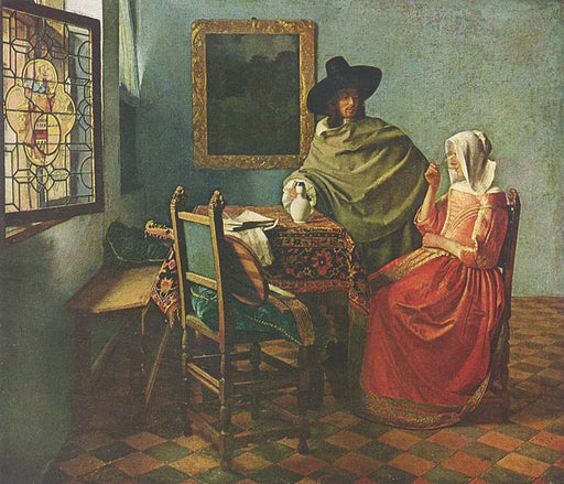 The Glass of Wine by Johannes Vermeer Reproduction Painting by Blue Surf Art