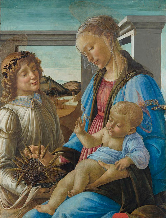 Virgin and Child with an Angel by Sandro Botticelli I Blue Surf Art