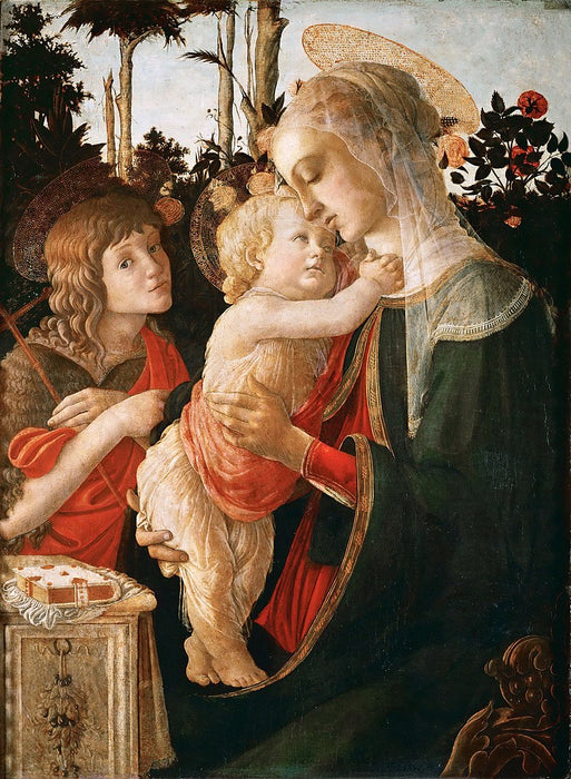 Madonna and Child with St. John the Baptist by Sandro Botticelli I Blue Surf Art