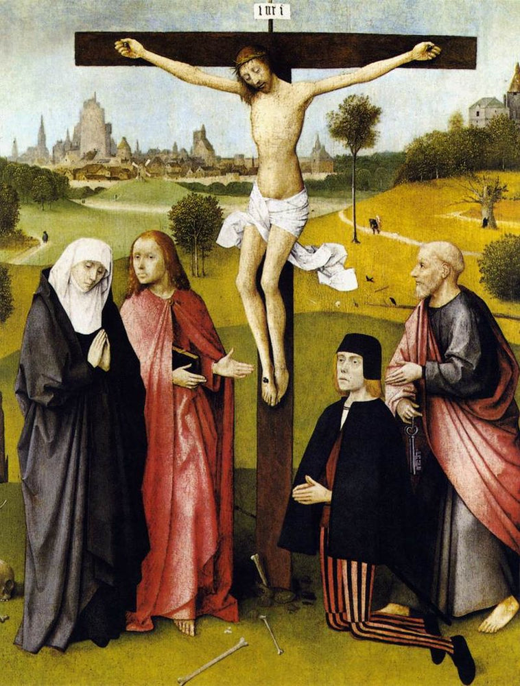 Crucifixion with a Donor (Bosch) by Hieronymus Bosch I Blue Surf Art
