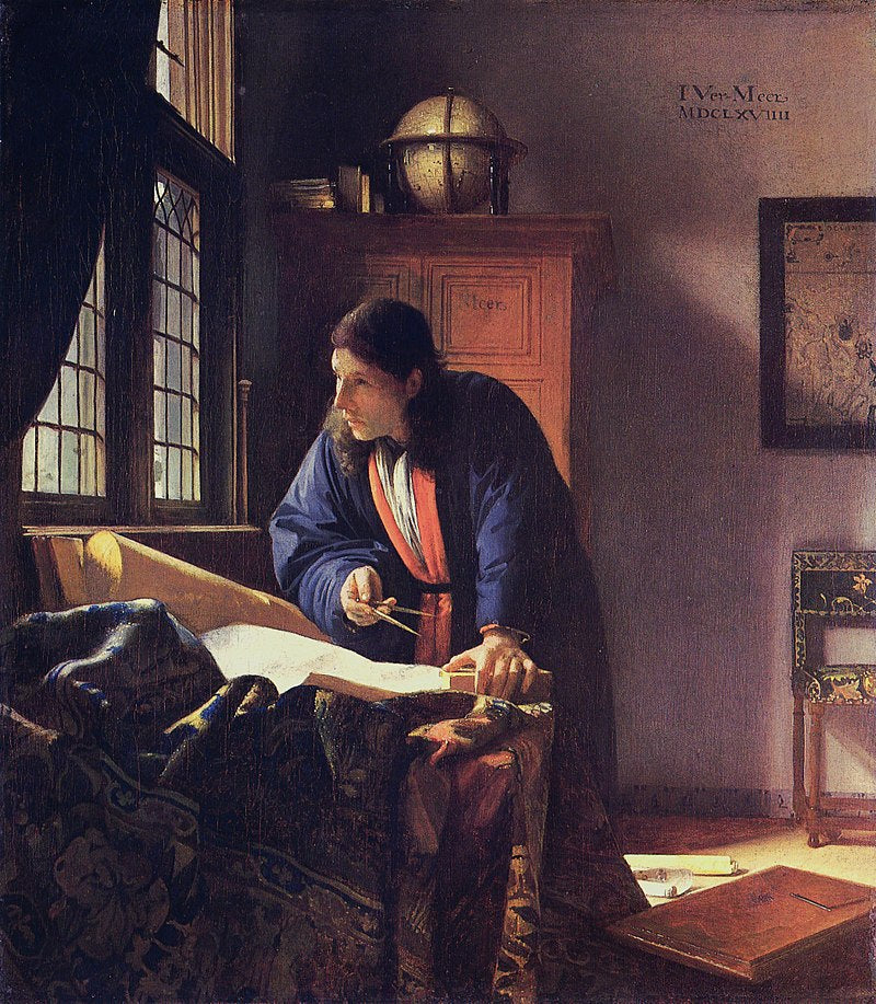 The Geographer  by Johannes Vermeer Reproduction Painting by Blue Surf Art