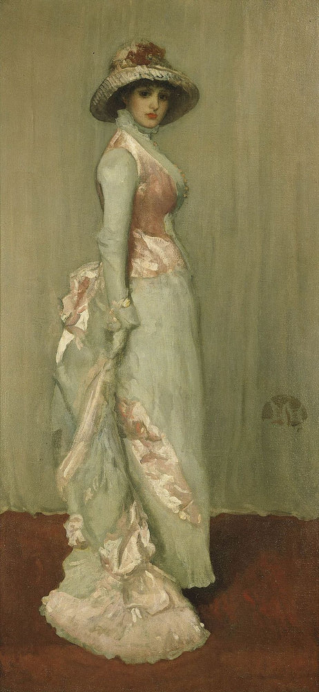 Harmony in Pink and Grey (Portrait of Lady Meux) by James Abbott McNeill Whistler Reproduction Painting by Blue Surf Art