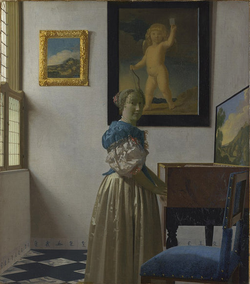 Lady Standing at a Virginal  by Johannes Vermeer Reproduction Painting by Blue Surf Art