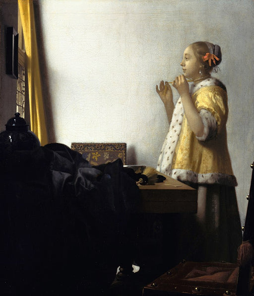 Woman with a Pearl Necklace by Johannes Vermeer Reproduction Painting by Blue Surf Art