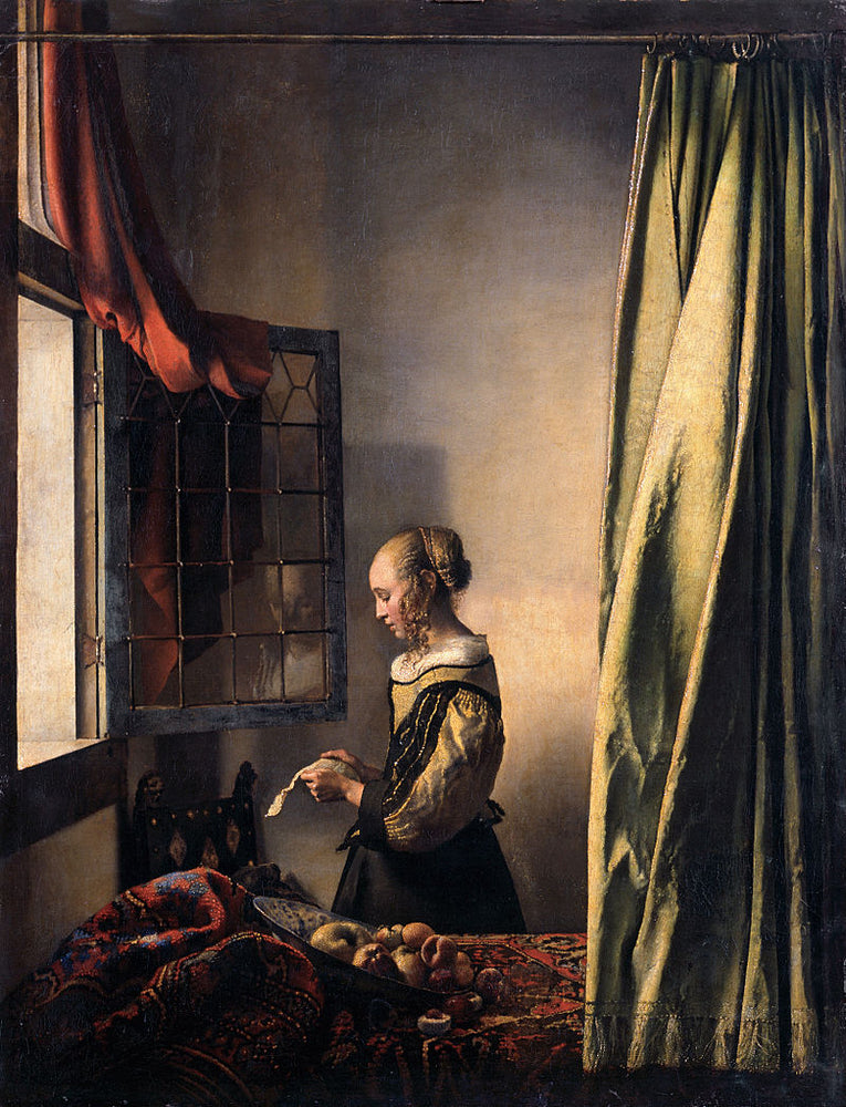 Girl Reading a Letter by an Open Window  by Johannes Vermeer Reproduction Painting by Blue Surf Art