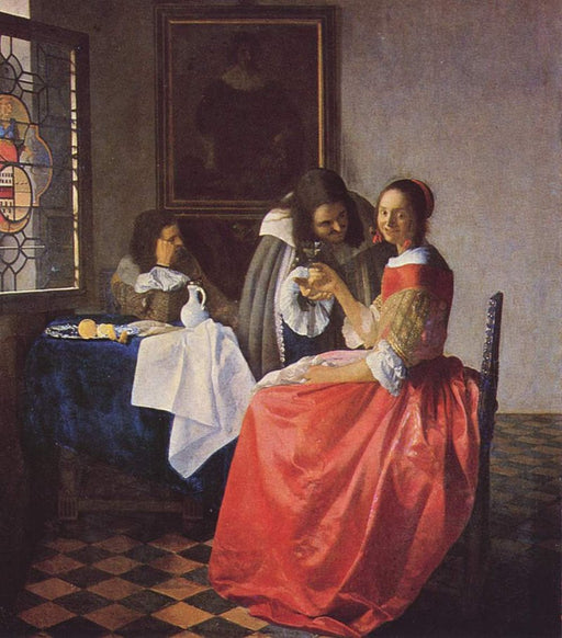 Girl with a Wineglass  by Johannes Vermeer Reproduction Painting by Blue Surf Art
