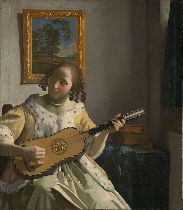 The Guitar Player by Johannes Vermeer Reproduction Painting by Blue Surf Art