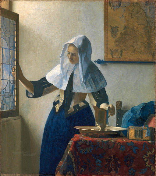 Young Woman with a Water Pitcher by Johannes Vermeer Reproduction Painting by Blue Surf Art