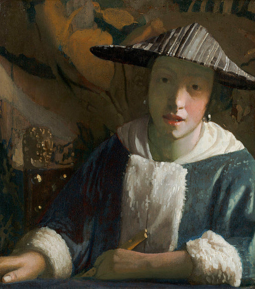 Girl with a Flute by an Open Window  by Johannes Vermeer Reproduction Painting by Blue Surf Art