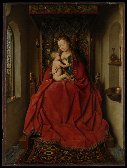 Lucca Madonna by Jan Van Eyck Reproduction Painting by Blue Surf Art by Jan Van Eyck Reproduction Painting by Blue Surf Art